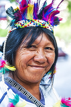 Traditional dressed Indian woman, Asuncion, Paraguay, South America