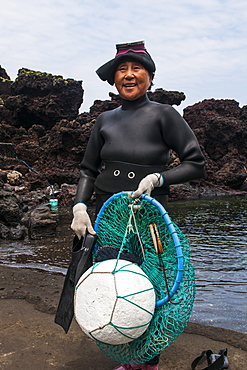 Haenyeo, the famous female divers on the island of Jejudo, UNESCO World Heritage Site, South Korea, Asia