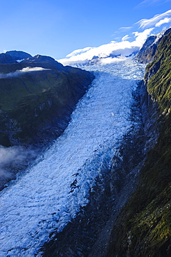 Aerial of Fox Glacier, Westland Tai Poutini National Park, South Island, New Zealand, Pacific