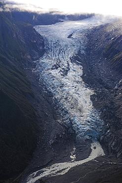 Aerial of Fox Glacier, Westland Tai Poutini National Park, South Island, New Zealand, Pacific