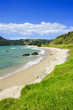 Lonely beach on the coastline of Northern Coromandel, North Island, New Zealand, Pacific