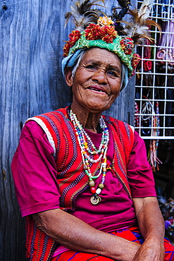 Traditional dressed Ifugao woman, Banaue, UNESCO World Heritage Site, Northern Luzon, Philippines, Southeast Asia, Asia
