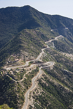 Very curvy road leading from the highlands into Filfil, only rainforest area in Eritrea, Africa