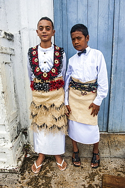 Traditiional dressed boys at a church service in Neiafu, Vavau, Vavau Islands, Tonga, South Pacific, Pacific