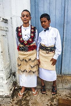 Traditiional dressed boys at a church service in Neiafu, Vavau, Vavau Islands, Tonga, South Pacific, Pacific