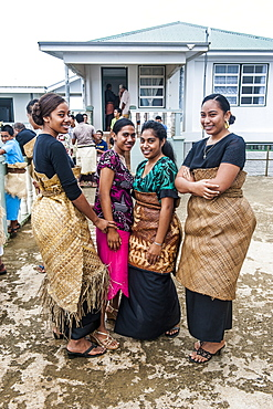 Traditional dressed Tongan women at a church service in Neiafu, Vavau, Vavau Islands, Tonga, South Pacific, Pacific