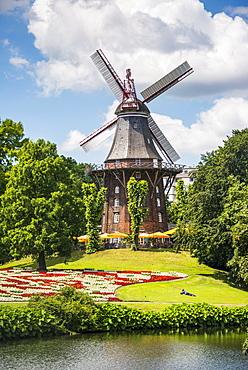 Old wind mill in Bremen, Germany, Europe