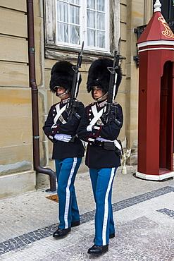 Royal Life Guards in Amalienborg, winter home of the Danish royal family, Copenhagen, Denmark, Scandinavia, Europe