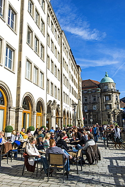 Open air cafe in the center of Bayreuth, Upper Franconia, Bavaria, Germany, Europe