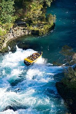 New Zealand, North Island, Waikato River, near Taupo, Rapids Jet _ aerial