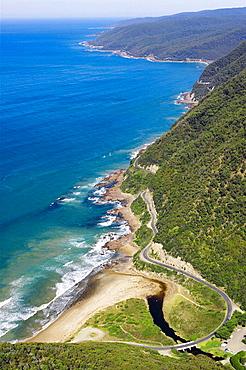 Great Ocean Road near Lorne, Victoria, Australia _ aerial