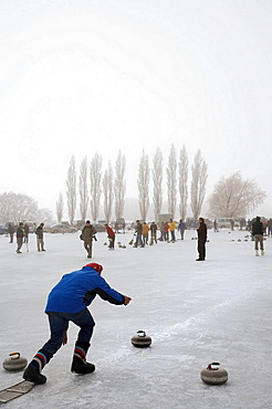 Curling Bonspiel on Frozen Idaburn Dam, Oturehua, Maniototo, Central Otago, South Island, New Zealand