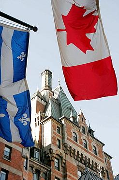 Canada, Quebec City, Upper Town, Fairmont Le Chateau Frontenac Hotel, flags, built 1893 1899 1904,