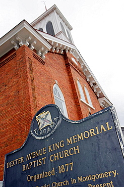 Alabama, Montgomery, Dexter Avenue King Memorial Baptist Church, Martin Luther King, Jr,pastor, Civil Rights Movement, red brick, plaque, history, discrimination, racism, justice, freedom, National Historic Landmark, bus boycott,