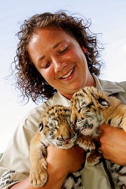 Arkansas, Eureka Springs, Turpentine Creek Wildlife Refuge, rescuing exotic wild cats, tiger cubs, eyes closed, woman, staff zoologist, handler,