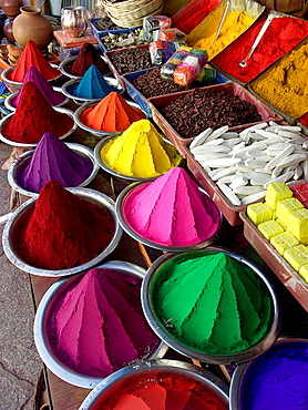 Colored powder for Hindu rituals for sale in market, Bangalore, Karnataka, India