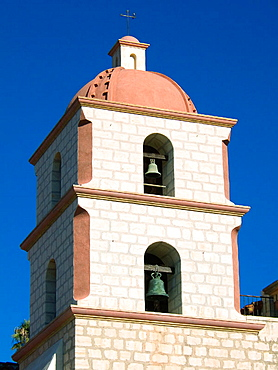 Church Bell Tower (1820) of Santa Barbara Franciscan Mission (aka Queen of the Missions for its graceful beauty, Founded in 1786, destroyed by earthquake in 1925 and restored in 1927 and 1953)..