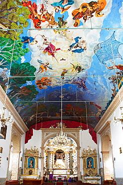 Ceiling frescoes in pilgrimage church Senhor Bom Jesus, Ponta Delgada, Madeira Island, Portugal