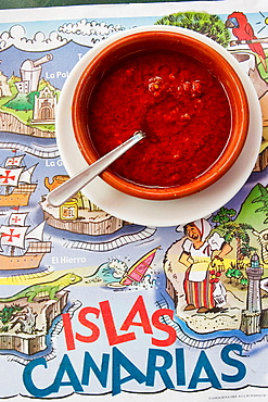 Red 'mojo' sauce (made of oil, garlic, hot peppers and paprika), La Gomera, Canary Islands, Spain