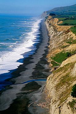 Kaikoura Walkway beach cliff looking south towards Christchurch, Kaikoura, New Zealand