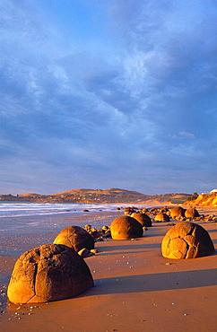Moeraki boulders at sunrise north Otago New Zealand