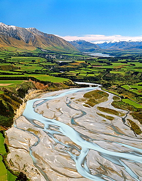 Rakaia River looking upstream with Mount Hutt to left aerial view New Zealand