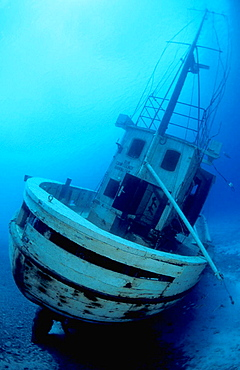 Vertical image of a stern perspective of the newly sunk Dutch fishing boat 'Our Confidence' - now resting in 55 feet and just off the sloping shore of Harbour Village Beach Club - Bonaire, Netherlands Antilles (Caribbean)