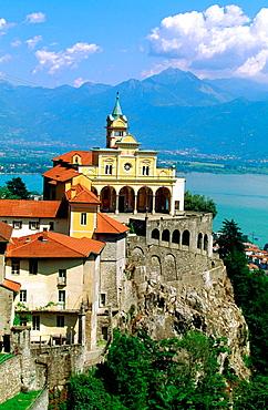 Madonna del Sasso church and Maggiore Lake in background, Locarno, Tessin, Switzerland