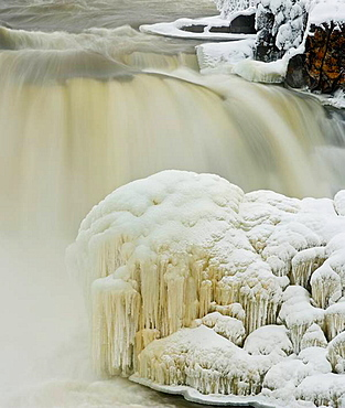 Pisew Falls on the Grass River in early winter