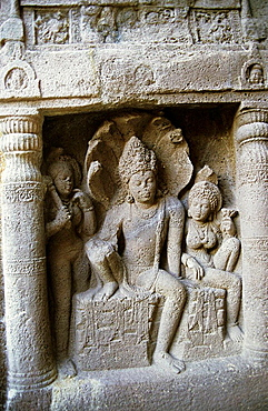 Lord Vishnu sitting astride 'Shesh Nag' at Ellora, Aurangabad, Maharashtra, India Ellora, with its uninterrupted sequence of monuments dating from AD, 600 to 1000, brings the civilization of ancient India to life.
