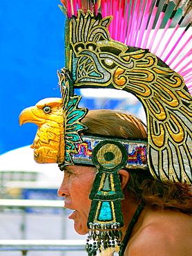 Aztec dancer at the Zocalo, Mexico City, Mexico - 817-126012
