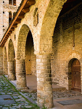 Romanesque porch of the Santa Eulalia church, Erill la Vall, Vall de Boi, Pyrenees Mountains, Lleida province, Catalonia, Spain