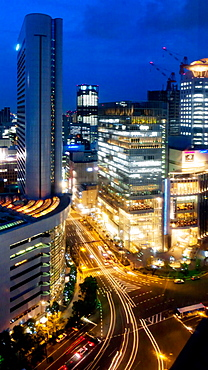 Skyline overview at evening, Osaka, Japan