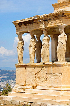 The Erectheion and the maidens on the Porch of Caryatids on the Acropolis in Athens, Greece