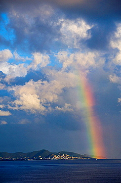 Storm clouds and rainbow over Sint Maarten, Netherland Antilles