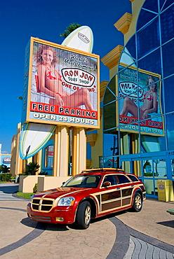 Ron Jon Surf shop exterior advertising at Cocoa Beach, Florida, USA, 2008