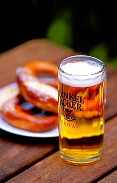 Germany, Baden Wurttemberg, Stuttgart, Beer and Pretzel