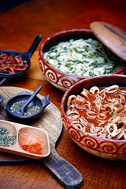 Food at Playa De Los Artistas restaurant, Montezuma, Nicoya peninsula, Costa Rica