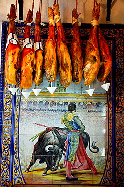 Cured Ham hanging at a tapas bar, Seville, Spain
