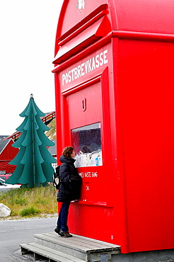The Santa Mailbox with letters sent to Santa Clause from all over the world, Nuuk, Greenland