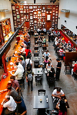 People sitting at Antares restaurant in the trendy area of Palermo Viejo known as Soho Buenos Aires, Argentina