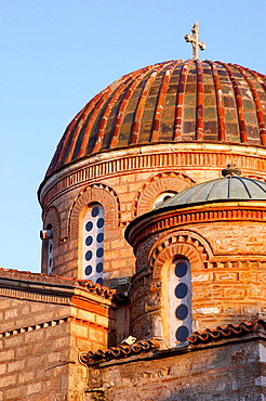 Dome of episcopal church on the ruins of old Byzantine basilica, Tegea, Arcadia, Peloponnese, Greece