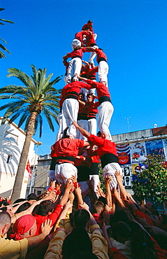 'Castellers' human towers builders, a Catalan tradition, Rubi, Barcelona province, Spain