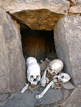 Pre-incaic skulls, Coporaque, Between Arequipa and Canon del Colca, Peru