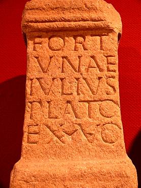 Roman inscription, Castelo de San Anton Museum, La Coruna, Spain