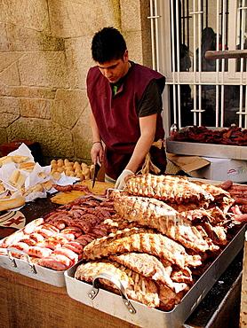 Costillas asadas, Festival de La Arribada, Baiona, Galicia, Espana