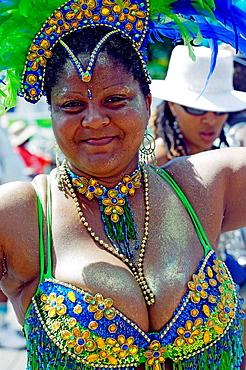 Woman wearing Carnival costume, Trinidad Carnival, Queens Park Savannah, Port of Spain, Island of Trinidad, Republic of Trinidad and Tobago