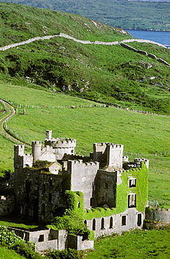 Ruins of Clifden Castle where John d'Arcy, the local landlord, lived, Connemara, Co, Galway, Ireland