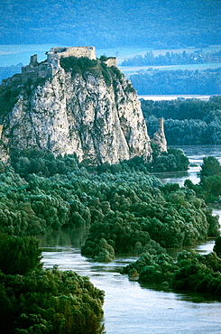Devin Castle, flood in the point where the River Morava flows into the Danube, near Bratislava, August 2002, Slovakia