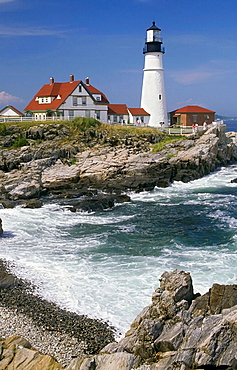 Scenic Portland Headlight Lighthouse in South Portland Maine, USA